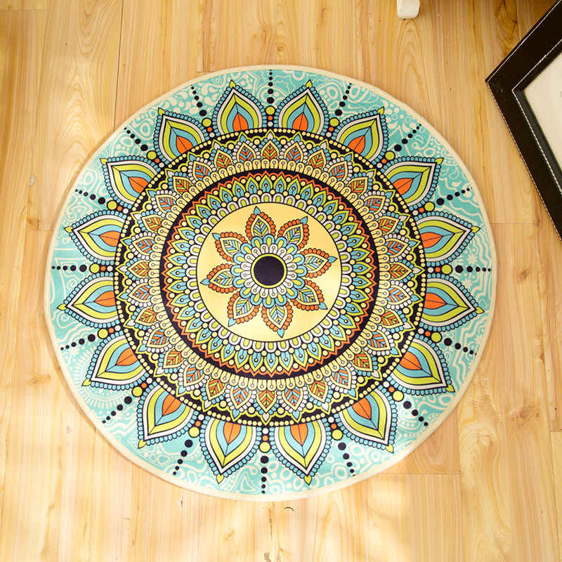 Новый Boho напольный коврик для гардеробной и ковры коврик для йоги с мандалой Хиппи Мандала нескользящий круглый ковер для гостиной