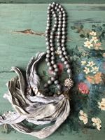 Bohemia Necklace Hand Knot Silver Grey Agates Druzy Geode Beads Necklace with Shabby BoHo Gray Sari Silk Tassel N17081601