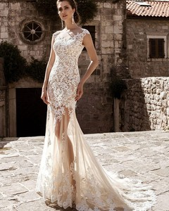 Image 3 - Champagne Lace Mermaid Wedding Dresses 2020 robe de mariee Detachable Train Sheer Illusion Wedding Gowns Handmade Gelinlik Bride