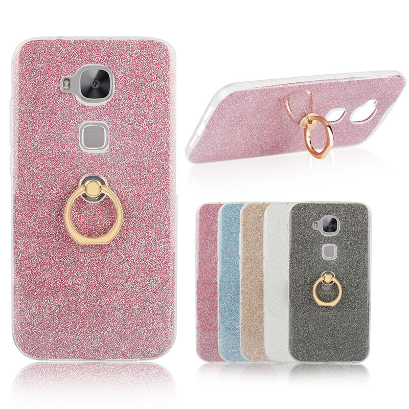 Holder Silicon <font><b>Case</b></font> For Huawei G8/G7 Plus Transparent Soft TPU Glitter Metal Ring Glitter <font><b>Phone</b></font> <font><b>Case</b></font> For Huawei <font><b>GX8</b></font> Bling Cover