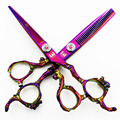 6 inch Kasho Professional Hair dressing scissors set Cutting+Thinning Scissors Barber shears purple Dragon handle High quality