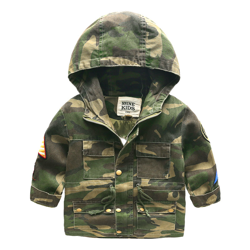 Hooded Boys Jackets Sport Camo Coats For Baby Boys Outerwears 1 8Y Children s Jackets Autumn