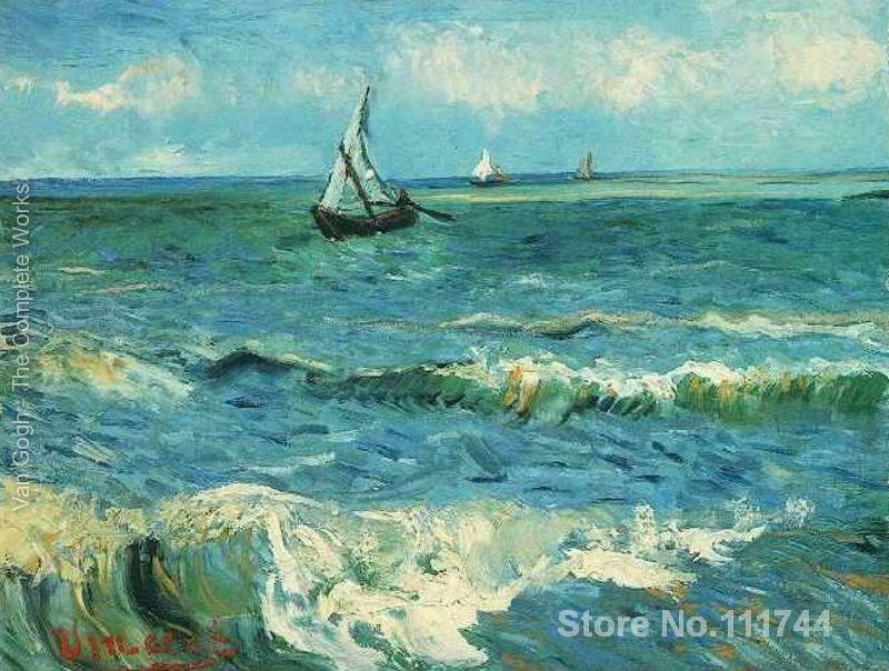Paintings by Vincent Van Gogh Seascape At Saintes Maries II Hand painted art on canvas High qualityPaintings by Vincent Van Gogh Seascape At Saintes Maries II Hand painted art on canvas High quality