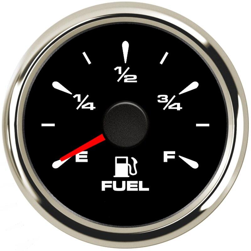 Compteurs de niveau de carburant de voiture à rétroéclairage 8 couleurs compteurs de niveau de carburant étanches numériques 0-190ohm 240-33ohm pour bateau automatique 52mm