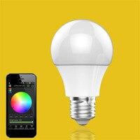 Bluetooth Inteligentne Światła LED E27 Wielokolorowe Żarówka Lampy Ściemniacz Dla iOS Android System Zdalnego Sterowania Zwalczania zakłóceń