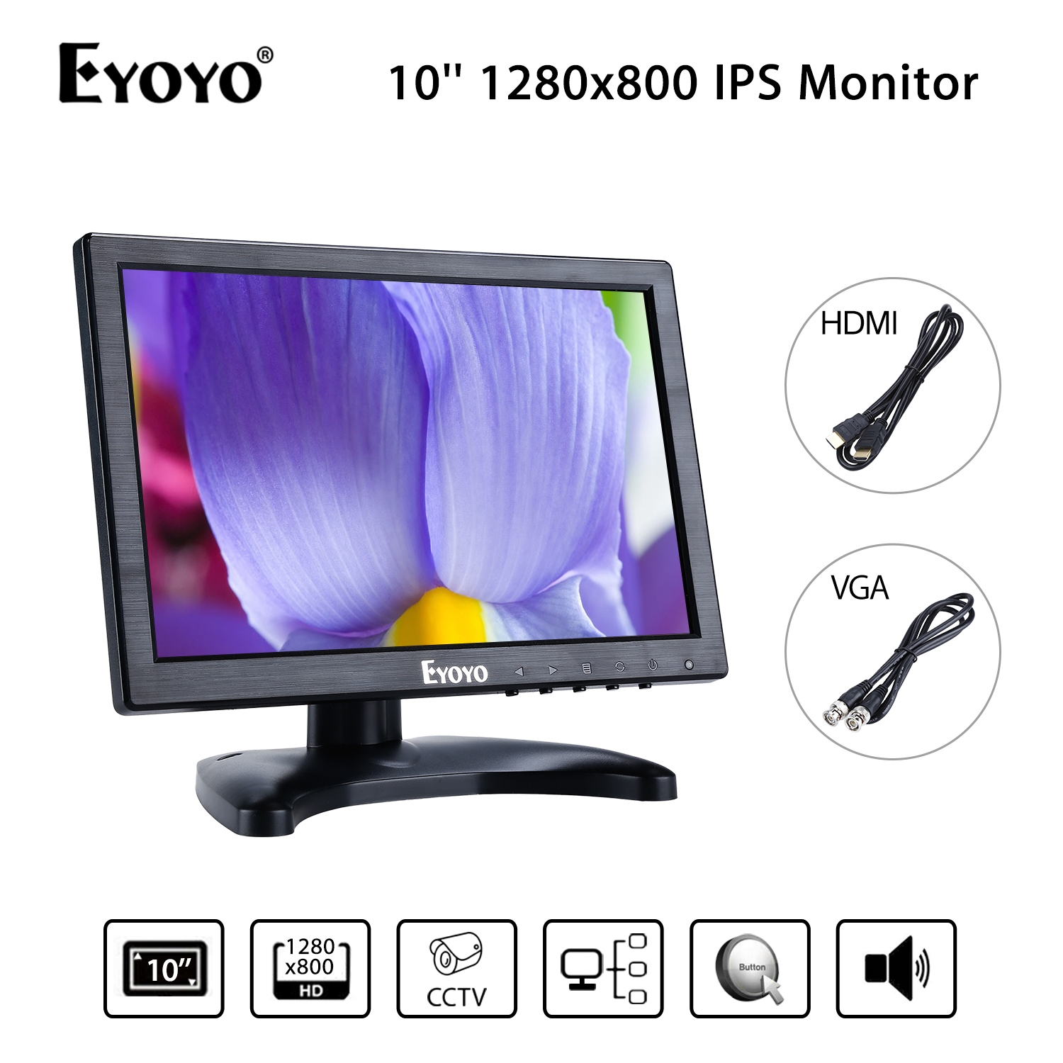 EYOYO H1016 IPS FHD 10'' Display 1280p 350cd/m2 VGA BNC USB Video Audio HDMI Monitor Black For CCTV DVD PC Laptop DVR CCD Camera us au standard 2 gang 1 way glass panel smart touch light wall switch remote controller white black gold
