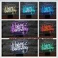 Nuevo 2017 3D Feliz Cumpleaños Edificio Moda Atmósfera Luz de La Noche de Acrílico Dormitorio de La Lámpara de Amigo de la Familia y de Ilusión Niño Regalos