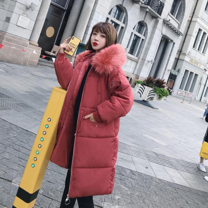 ELEXS Big fur winter coat thickened   parka   women extra long coat down cotton ladies down   parka   down jacket women E8806