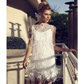 2015 Lovely Sleeveless Short High Quality Best Selling Prom Dress with Delicate Appliques Feathers Dresses