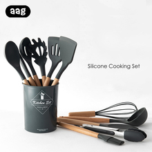 Silicone Kitchen Cooking Tools Set Spoon Spatula Turner Egg Beaters Kitchen Utensils Set Heat-resistant Non-stick Cooking Tools 5 8 9 10 11pcs kitchen tools cooking tools set natural wooden premium silicone turner tongs spatula soup spoon heat resistant
