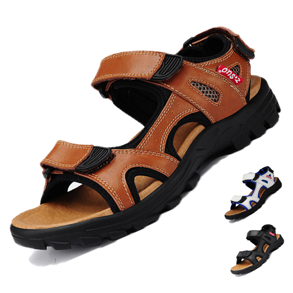 8fdb9e73132c Mens Sandals Slippers Genuine Leather Cowhide Flat Sandals Outdoor Casual  Summer Style Beach Shoes Leather Sandals