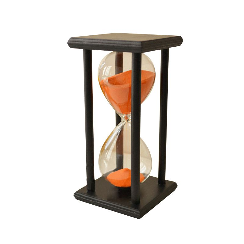 NOCM-Colors! 60Min Wooden Sand Sandglass Hourglass Timer Clock Decor Unique Gift Type:60Min Black Frame Orange Sand