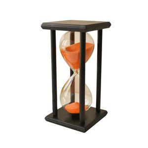 NOCM-kolory! 60 Min drewniane piasek klepsydra zegar z klepsydrą zegar Decor wyjątkowy prezent typ: 60 Min czarna ramka piasek pomarańczowy