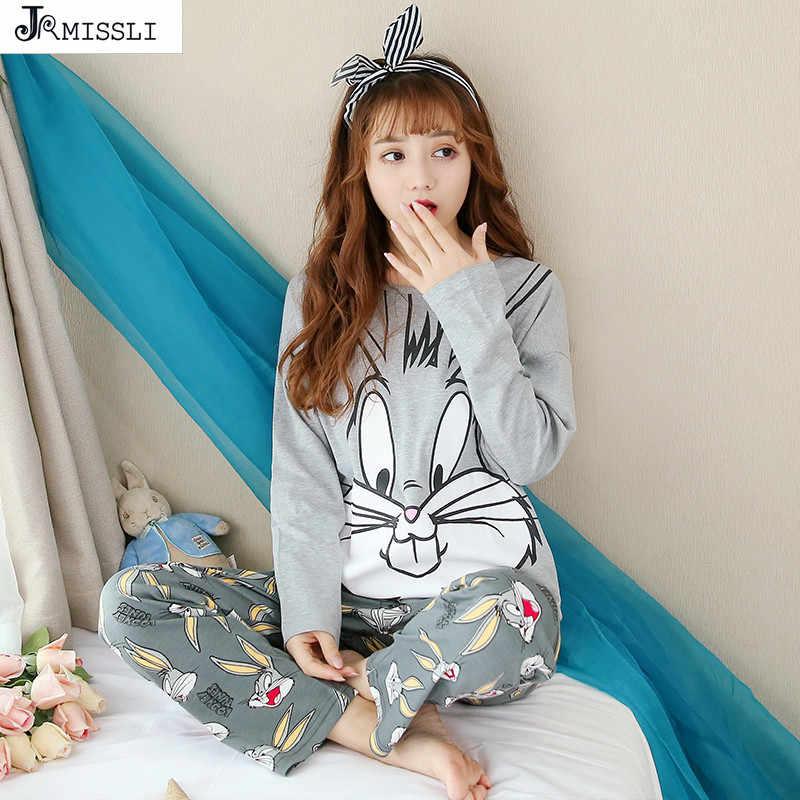 JRMISSLI Для женщин пижамные комплекты 100% хлопок ночное Демисезонный с длинным  рукавом Багз Банни принт 51de9ed96cccf