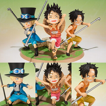 NEW hot 9cm One piece Classic memory Three brothers Luffy ace Sabo action figure toys Christmas gift collectors kongmu