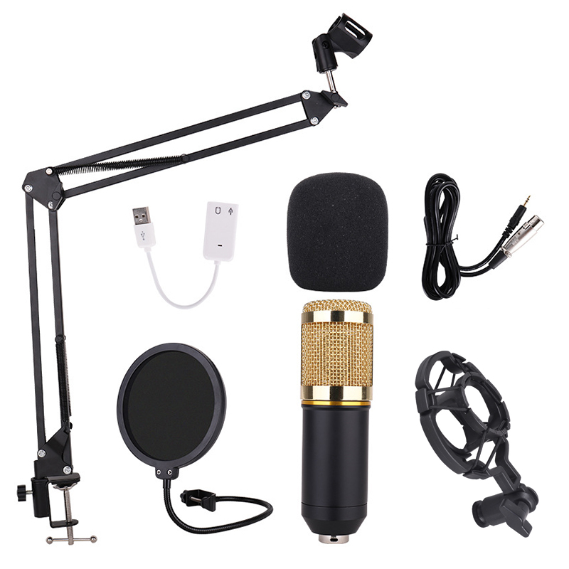 BM 800 Professional Condenser Microphone for Computer Audio Studio PC Rrecording Karaoke Tripod Stand Pop Filter for bm800 Mic цена