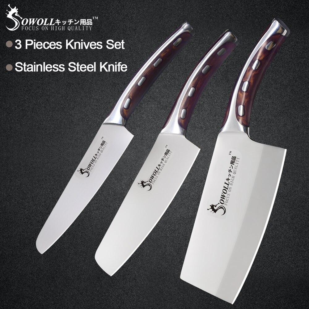 Sowoll 3 Jogo da Faca De Cozinha Em Aço Inoxidável Peça 5 6 7 polegada Resina Fibre Handle Alto Carbono Lâmina Utility Chef facas de corte