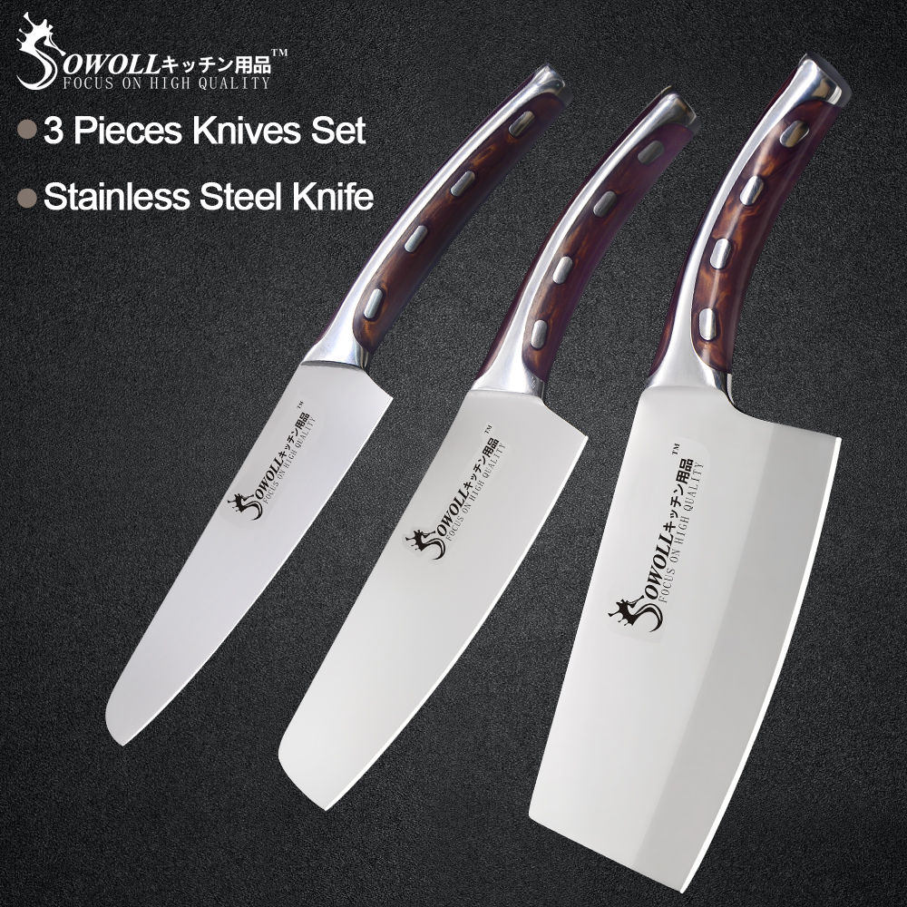 Sowoll 3 Piece Stainless Steel Kitchen Knife Set 5 6 7 inch Resin Fibre Handle High