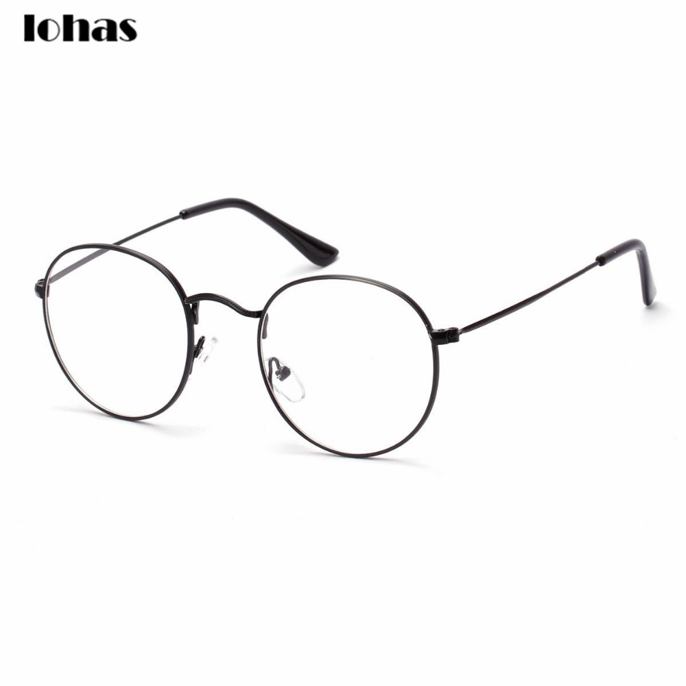 large oversized metal frame clear lens round