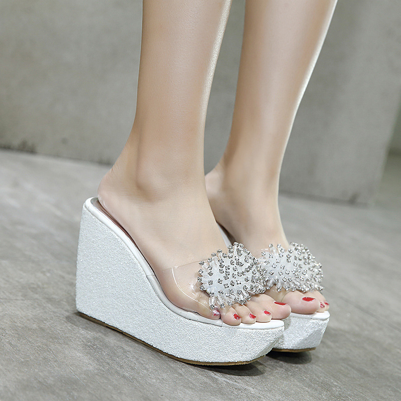 e265a258df27 Silver Pink Glitter Platform Sandals Women Brand Designer Star Rivets  Flower Flip Flops Summer Wedges Shoes Woman Slippers 3234