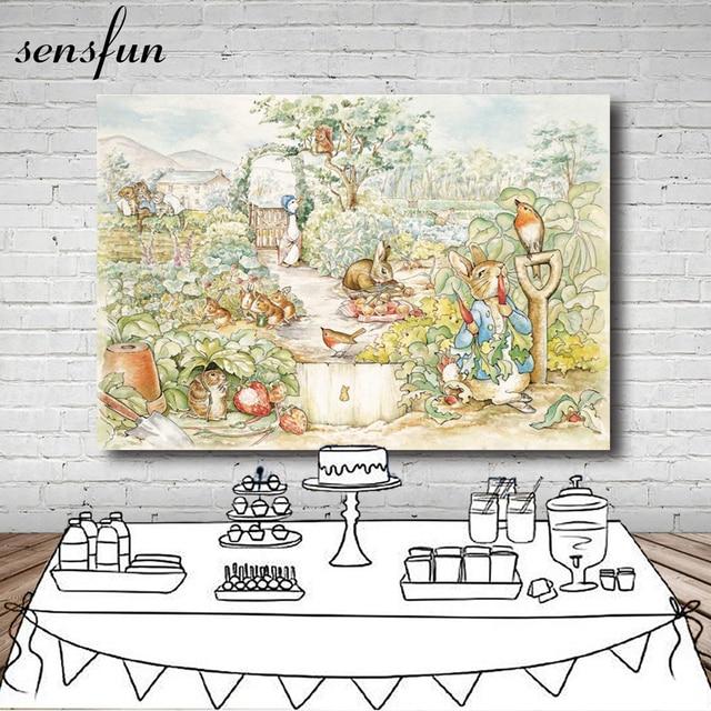 Sensfun Peter Rabbit Theme Party Backdrop For Photo Studio Birthday Party Backgrounds Photo Booth 7x5FT