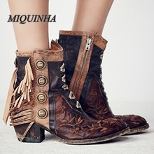 new style retro tassel women ankle high booties metal decoration inner zipper booties round toe chunky heel embroidered shoes