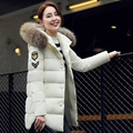 2016 Real Winter New Korean Fashion Leisure Fur Collar Badges Cloth Long Down Jacket Free Shipping