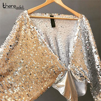 SANTUNE New sequined Design silver PU Patchwork Sexy Jumpsuits Bat Sleeves Deep V Neck Loose Up Tight Bodysuit Night Clubwear