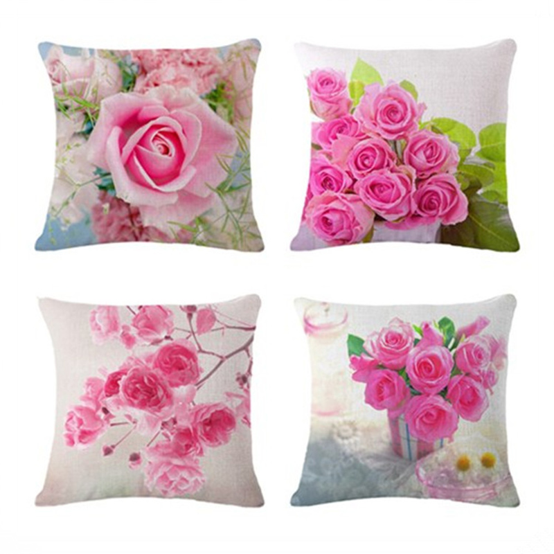 Square Pink Rose Cushion Cover Pillowcase Pillow Case For Sofa Home Decor F
