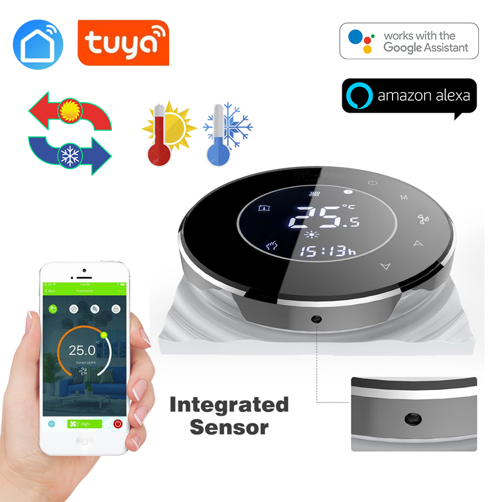 TUYA App  2pipe Fan Coil Wifi Thermostat Temperature Controlled For Sensor NTC 10K Works With Alexa/Google Home/echo
