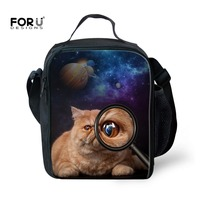FORUDESIGNS Women Men Cooler Lunch Bag Funny Animal Cat Printed Portable Insulated Thermal Food Picnic Lunchbox Bolsa Termica