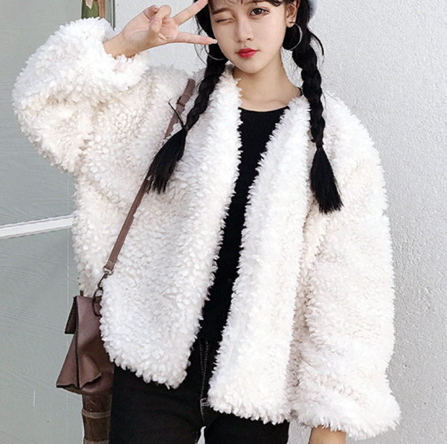 New 2017 Autumn Winter Women Fur Coat White Lambs Woolen Jacket Loose Warm Overcoat Cute Cardigan Short Outwear  by Tian Mo Zy