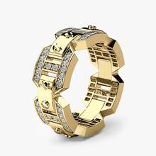 Huitan Charms Punk Men Ring Three Color Available Engagement For With Micro Paved Anniversary Finger Dropshpping