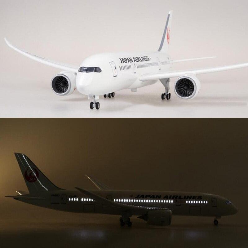 1/130 échelle 47 cm avion Boeing B787 Dreamliner avion japon modèle de la compagnie aérienne avec lumière et roue moulé sous pression en plastique résine avion