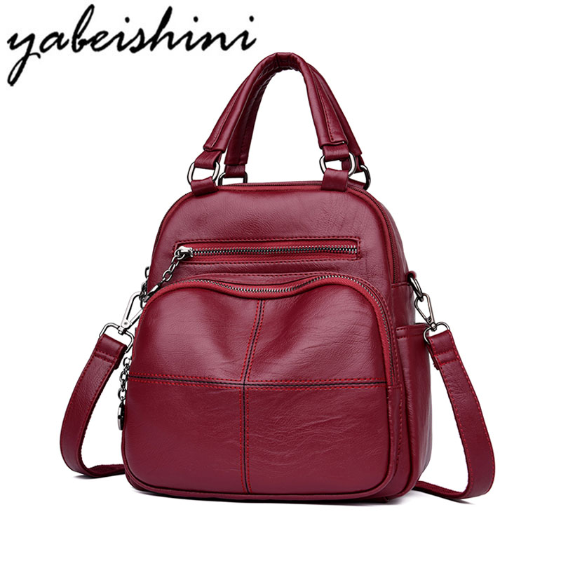 YABEISHINI Brand Women Backpack High Quality Leather School Backpacks For Teenage Girls Casual Large Capacity Shoulder Bag