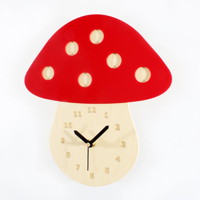 Digital Forest Fairy-tale Vintage Countryside Wall Clock 3D Lovely Mushroom Quartz Wall Clock Silent Non-tickingWall Clock