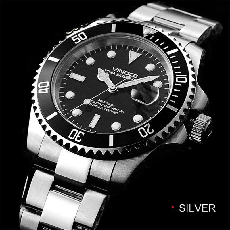 Men s watch 20bar 200m waterproof diving quartz watch steel wristwatch 2017 luxury business classic watch
