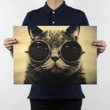 51x36cm Cool Handsome Cat Sunglasses Rock Animal Kraft Paper Bar Poster Retro Poster Decorative Painting Wall Sticker