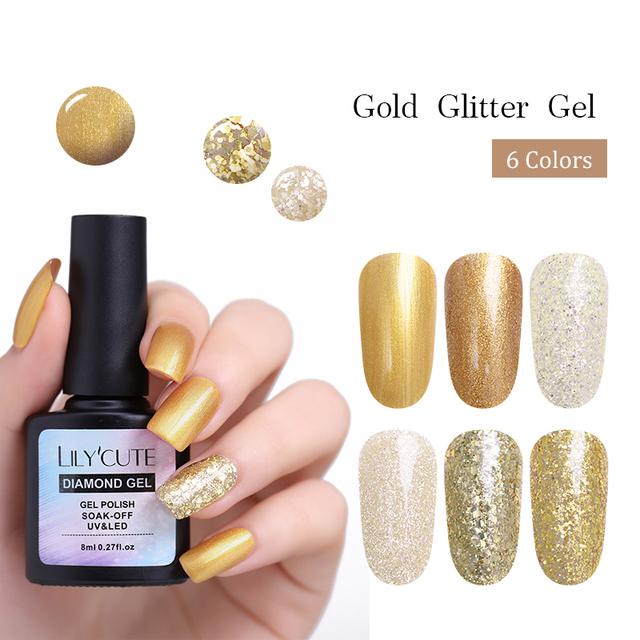 LILYCUTE 8ml Gold Sequins Gel