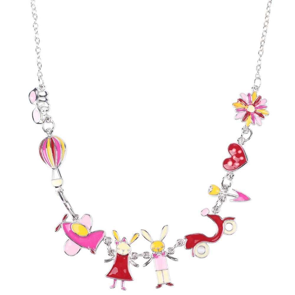 Bonsny Maxi Paduan Kelinci PESAWAT Kalung Rantai Enamel Perhiasan Pendant Colorful 2017 Baru Fashion Perhiasan Wanita Pernyataan
