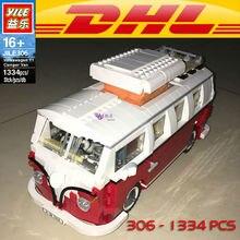 Yile 306 Creator Volkswagenn T1 Camper Van Building Blocks 10220 lepin technic bricks 21001 action figure car toys for children