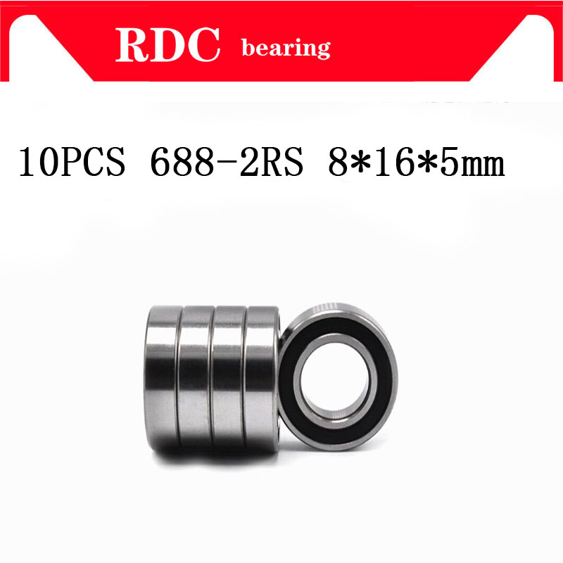10PCS ABEC-5 688-2RS High quality 688RS 688 2RS RS L1680 8x16x5 mm Miniature double Rubber seal Deep Groove Ball Bearing 10pcs high quality abec 5 608 2rs 608rs 608 2rs 608 rs 8 22 7 mm miniature rubber seal skateboard deep groove ball bearings