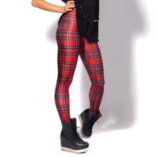 2016 Hot Sale Scottish Style Red Plaid 3D Printed Fashion Women Leggings Space Galaxy Leggins Tie Dye Fitness Pant Free Shipping