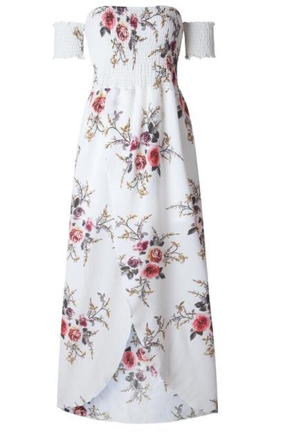 bb037794f6a Boho style long dress women Off shoulder beach summer dresses Floral print  Vintage chiffon white maxi dress vestidos de festa