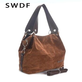e4d6ddb42f11 SWDF новая брендовая сумка женская большая сумка высокого качества Женская  сумка через плечо мягкая Вельветовая Винтажная сумочка