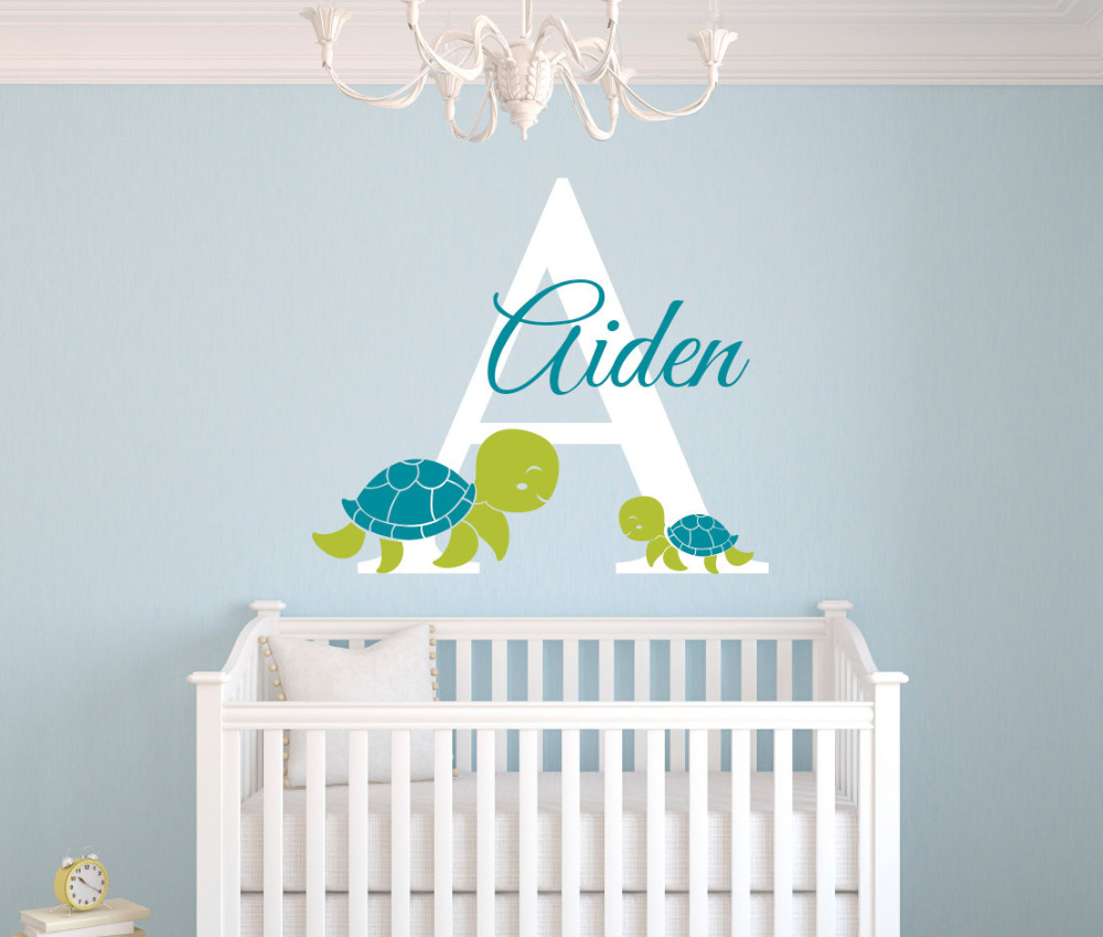 compare prices on wall art baby online shopping buy low price personalized turtles wall decal for boys bedroom kids room baby wall art decals remvable diy vinyl