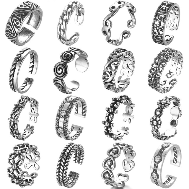 Todorova Antique Beach Punk Rings Vintage Geometric Knuckle Rings for Women Men Carved Adjustable Finger Foot Toe Ring