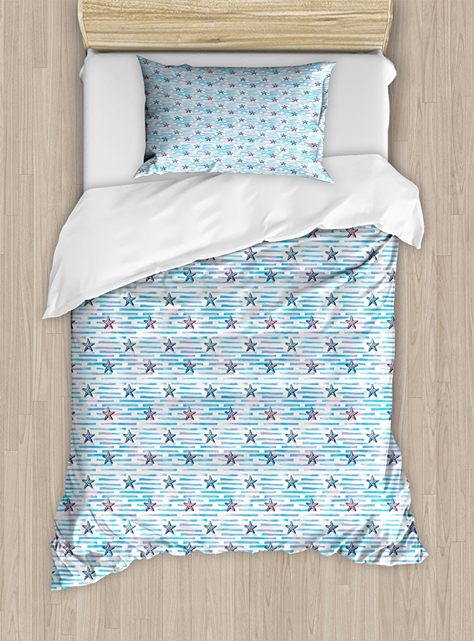 Starfish Duvet Cover Set, Blue Toned Stripes with Brush Stroke Effect Aquamarine Animals Pattern 4 Piece Bedding Set