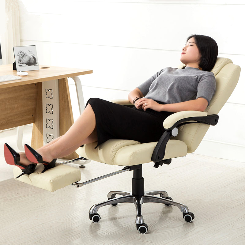 High Quality Boss Office Chair Soft Swivel Computer Chair Heighten Soft Backrest Lying Lifting Seat Leisure With Footrest Chair 240340 high quality back pillow office chair 3d handrail function computer household ergonomic chair 360 degree rotating seat
