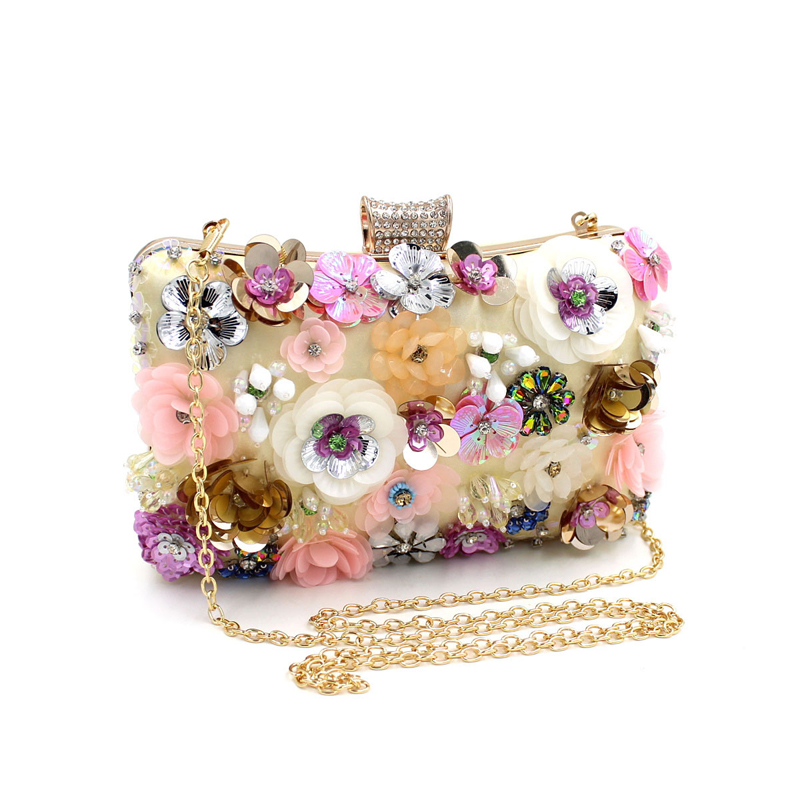 Luxury beading clutch evening bags Rose flower sparkly women diamonds bag colorful wedding banquet handbags prom